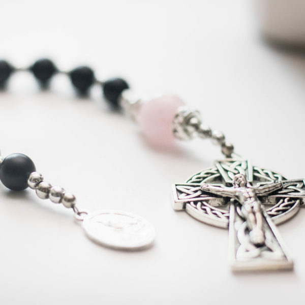 Rose Quartz | Onyx | St. Michael | Celtic Crucifix | Single Decade Rosary